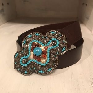 Accessories - Genuine Leather Belt with Turquoise Buckle